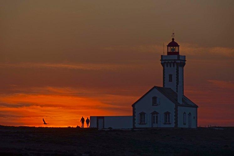 Belle-Île - Le phare des Poulains au couchant